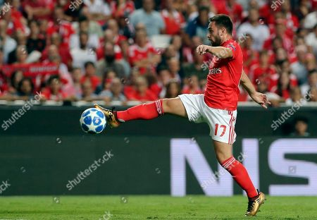 Benfica's Andrija Zivkovic controls the ball during the Champions League playoffs, first leg, soccer match between Benfica and PAOK at the Luz stadium in Lisbon