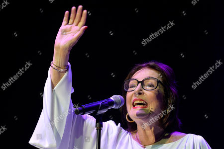 Greek singer Nana Mouskouri performs on stage during a concert at the annual Byblos International Festival (BIF), in the ancient city of Byblos (Jbeil), north of Beirut, Lebanon, 21 August 2018. The festival runs from 01 to 24 August.
