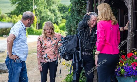 Ep 8242 Monday 27th August 2018 Rodney suddenly collapses - With Rodney Blackstock, as played by Patrick Mower ; Jimmy King, as played by Nick Miles ; Nicola King, as played by Nicola Wheeler ; Bernice Blackstock, as played by Samantha Giles.
