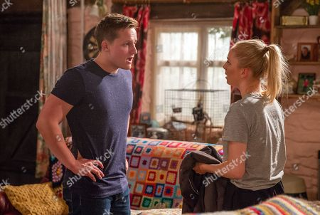 Ep 8248 Monday 3rd September 2018  Belle Dingle, as played by Eden Taylor-Draper, feels like she's caught in a waking nightmare when she spots a bloody jacket and pleads with Lachlan White, as played by Thomas Atkinson, to tell her where Sam is.