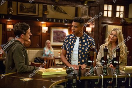 Ep 8249 Tuesday 4th September 2018  Matty White, as played by Thomas Atkinson, spots Ellis Grant, as played by Asan N'Jie, flirting with some girls and goes to confront him. When Ellis mocks him, Matty steels himself for a fight. Matty and Ellis start fighting.
