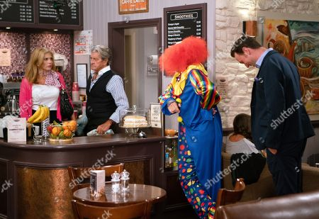 Ep 8246 Thursday 30th August 2018 - 2nd Ep Bernice Blackstock, as played by Samantha Giles, is mortified when Daz Spencer, as played by Mark Jordon, gets a job as a clown and appears in his full outfit. Could this be the end of the line for their relationship? With Rodney Blackstock, as played by Patrick Mower.