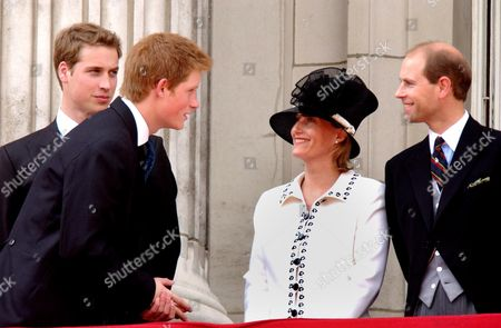 Trooping The Colour 2003. The Young Royals Prince Harry Prince William And Sophie Countess of Wessex And Prince Edward Wessex.  14/6/03