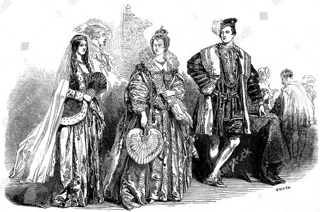 Costumes On Show at the Ball For the Spitalfields School of Design. From Left: Lady Adeliza Fitzalan Howard As Queen Adeliza of Louvaine the Hon Miss Campbell Queen Elizabeth and Mr Graham Vivian Earl of Surrey. Illustrated London News. 1848. Top Image. by Smyth.