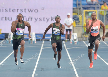 Ronnie Baker, Mike Rodgers of Usa end Asafa Powell of Jamaica