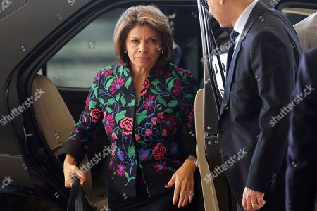 President of the Electoral Observation Mission of Organization of American States and former President of Costa Rica Laura Chinchilla, arrives for a meeting with Brazil's President Michel Temer, at the Planalto Presidential Palace, in Brasilia, Brazil, . Chinchilla is on a two-day visit to Brazil
