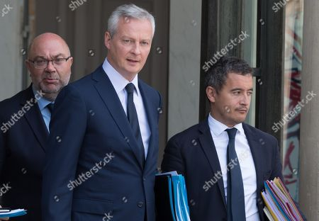French Agriculture Minister Stephane Travert, French Economy Minister Bruno Le Maire and French Public Accounts Minister Gerald Darmanin