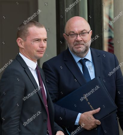 French Junior Minister for Public Administration Olivier Dussopt and French Agriculture Minister Stephane Travert