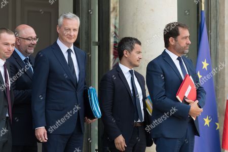 French Junior Minister for Public Administration Olivier Dussopt, French Agriculture Minister Stephane Travert, French Economy Minister Bruno Le Maire and French Public Accounts Minister Gerald Darmanin and French Minister of State for Relations with Parliament Christophe Castaner