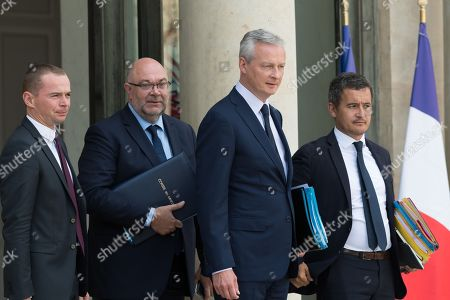 French Junior Minister for Public Administration Olivier Dussopt, French Agriculture Minister Stephane Travert, French Economy Minister Bruno Le Maire and French Public Accounts Minister Gerald Darmanin