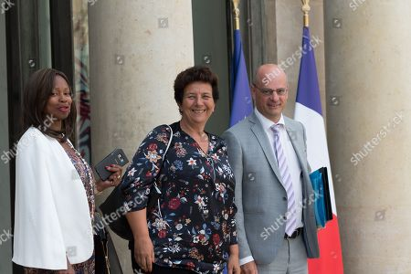 Stock Image of French Sports Minister Laura Flessel, French High Education and Research Minister Frederique Vidal and French Education Minister Jean-Michel Blanquer
