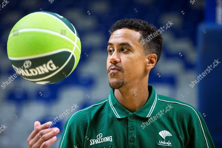 US basketball player Brian Roberts performs during his presentation as new player of Spanish basketball club Unicaja in Malaga, Spain, 22 August 2018.