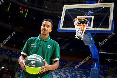 US basketball player Brian Roberts poses for photographers during his presentation as new player of Spanish basketball club Unicaja in Malaga, Spain, 22 August 2018.