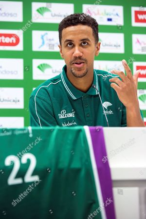 US basketball player Brian Roberts speaks during a press conference for his presentation as new player of Spanish basketball club Unicaja in Malaga, Spain, 22 August 2018.