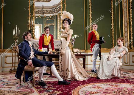 Tom Bateman as Rawdon Crawley, Charlie Rowe as George Osbourne, Olivia Cooke as Becky Sharp, Johnny Flynn as William Dobbin and Claudia Jessie as Amelia Sedley.