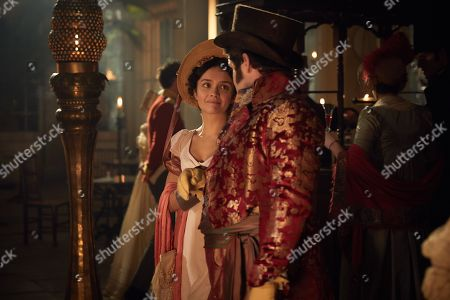 Olivia Cooke as Becky Sharp and David Fynn as Jos Sedley.