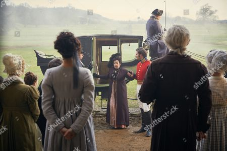 Tom Bateman as Rawdon Crawley and Frances de la Tour as Lady Matilda Crawley.
