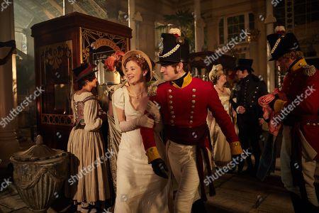 Charlie Rowe as George Osbourne and Claudia Jessie as Amelia Sedley.