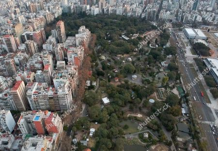 This photo shows an areal view of the Eco-park in Buenos Aires, Argentina. The zoo was inaugurated in 1875 on what was then a quiet patch on the outskirts of Buenos Aires. Growing up, it was a favorite haunt of Argentine novelist Jorge Luis Borges, who was fascinated by the tigers and who wrote about them in his works. But with time, the zoo became surrounded by a sprawling urban zone of busy avenues with honking buses and screeching cars near the animal cages