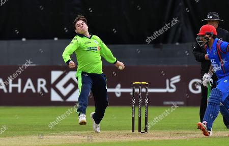 Ireland vs Afghanistan. Ireland's Josh Little bowling