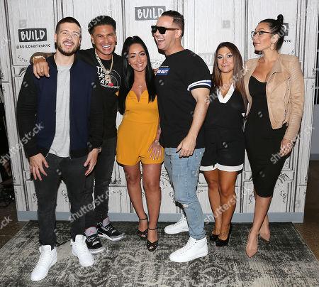 "Vinny Guadagnino, Paul DelVecchio, Angelina Pivarnick, Michael The Situation Sorrentino, Deena Nicole Cortese and Jenni "" Jenni J-Woww Farley "" Farley"