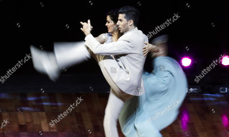 The Argentinian couple formed by Juan Pablo Bulich and Rocio Garcia compete in the final of the 'Tango Escenario' category during the Tango World Championships in Buenos Aires, Argentina, 22 August 2018.