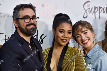 """Andrew Bujalski, Regina Hall, Haley Lu Richardson. Andrew Bujalski, left, writer/director of """"Support the Girls,"""" poses with cast members Regina Hall, center, and Haley Lu Richardson at the premiere of the film at the Arclight Hollywood, in Los Angeles"""