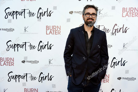 """Stock Picture of Andrew Bujalski, writer/director of """"Support the Girls,"""" poses at the premiere of the film at the ArcLight Hollywood, in Los Angeles"""