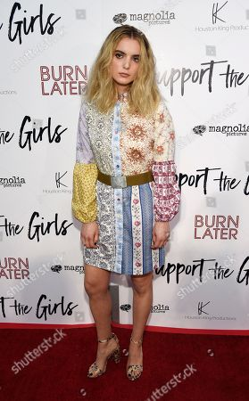 "Stock Image of Dylan Gelula, a cast member in ""Support the Girls,"" poses at the premiere of the film at the ArcLight Hollywood, in Los Angeles"