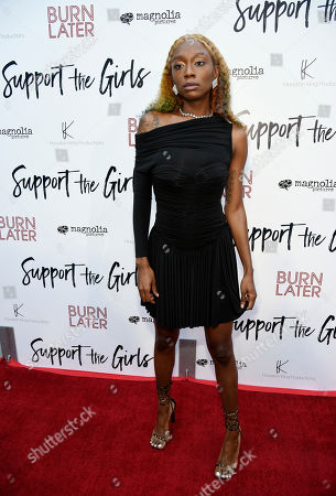 "Shayna McHayle, a cast member in ""Support the Girls,"" poses at the premiere of the film at the ArcLight Hollywood, in Los Angeles"
