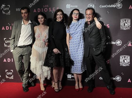 Stock Picture of (L-R) actor Pedro de Tavira, actresses Tessa Ia, actress Karina Gidi, director Natalia Beristain and actor Daniel Gimenez Cacho pose on the red carpet during an event promoting the film 'Los Adioses (The Eternal Feminine)', in Mexico City, Mexico, 22 August 2018. The film, directed by Mexican director Natalia Beristain, explores the life of writer Rosario Castellanos and will premiere on 24 August 24 in Mexico.
