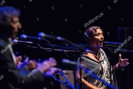 Spanish Flamenco 'cantaora' or singer Estrella Morente performs during the first night of 'Flamenco on Fire' festival in Pamplona, northern Spain, late 22 August 2018 (issued 23 August 2018). The festival runs from 21 to 26 August.