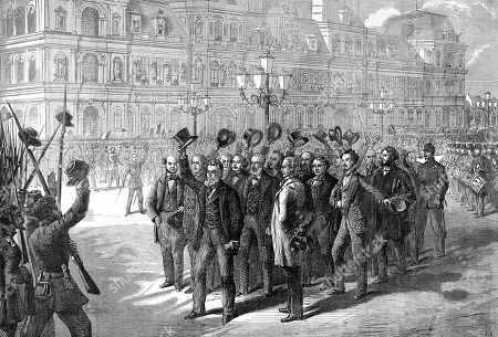 Illustration Showing the Provisional Government Reviewing the National Guard During the Franco-prussian War of 1870-1. the Provisional Government of National Defence Was Set Up After the French Defeat at Sedan. It Was Headed by General Trochu Leon Gambetta and Jules Favre. This Image Was Sent to the Illustrated London News by Balloon Post From Besieged Paris. Illustrated London News. 1870. P 465. by Cj Staniland.