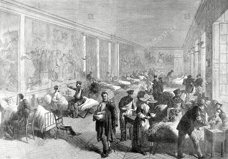 Illustration Showing the Hospital Set Up in the Galerie of Louis Xiii in the Palace of Versailles For the Prussian Wounded Soldiers During the Franco-prussian War of 1870-1. A Number of Nuns Can Be Seen Taking Food and Bandages to the Wounded. Illustrated London News. 1870. P 400. by Cj Staniland..