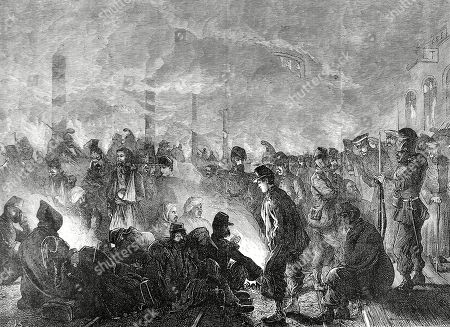 Illustration Showing French Prisoners at the Railway Station of Orleans During the Franco-prussian War of 1870-1. Orleans Was of Great Strategic Importance to the French Being One of Their Last Strongholds to Fall Before the Siege of Paris. Illustrated London News. 1871. P 33. by Cj Staniland.