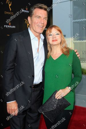 US actor Peter Bergman (L) and US actress Andrea Evans (R) arrive at the Television Academy Reception for the Daytime TV stars celebration of the 70th Emmy Awards at Saban Media Center in North Hollywood, Los Angeles, California, USA 22 August 2018.