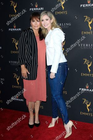 Stock Photo of US actresses Crystal Chappell (L) and Ashley Jones (R) arrive at the Television Academy Reception for the Daytime TV stars celebration of the 70th Emmy Awards at Saban Media Center in North Hollywood, Los Angeles, California, USA 22 August 2018.