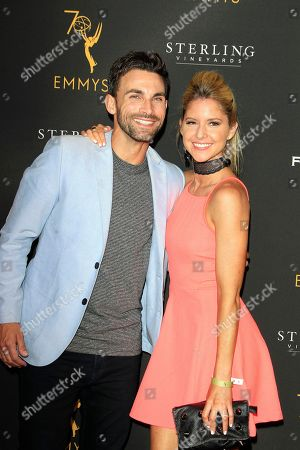 US actor Erik Fellows (L) and US actress Brittany Underwood (R) arrive at the Television Academy Reception for the Daytime TV stars celebration of the 70th Emmy Awards at Saban Media Center in North Hollywood, Los Angeles, California, USA 22 August 2018.