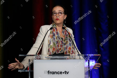 Delphine Ernotte Cunci, head of France Television, delivers her speech during a press conference in Paris, Thursday, Aug.23, 2018