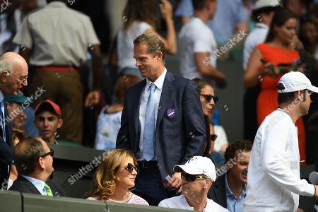 Stefan Edberg. The Wimbledon Tennis Championships 2017:04/07/2017 Day Two Roger Federer V Aleksandr Dolgopolov Roger Federer Coach Stefan Edberg.