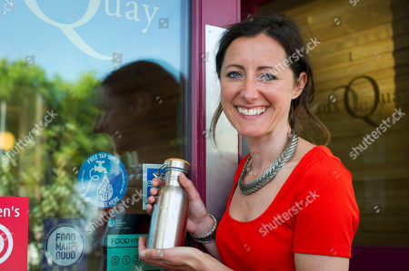 Natalie Fee For Features. She Runs The Anti Plastic Bottle Campaign City To Sea. Interview By Harry Wallop. Natalie With Her Own Metal Bottle Which She Can Refill At Restaurants Offering Free Tap Water.