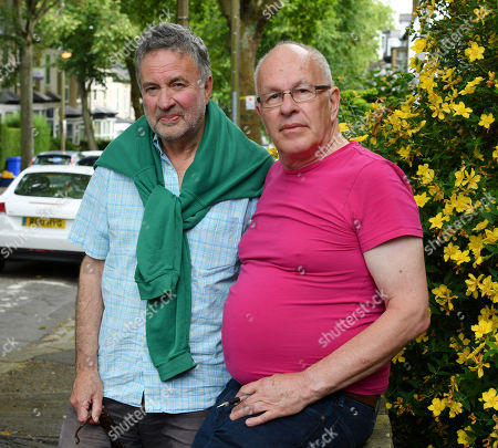 Stag Activists Arthur Baker 67 (l) And Alan Story 69(r) In Western Rd. Sheffield Next To Trees Planted In Memorial Of Soldiers Who Died In Ww1.- Robert Hardman Meets Residence Of Sheffield South Yorkshire Trying To Stop Their Street Trees From Being Cut Down.