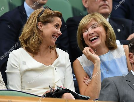 Darcy Bussell . The Wimbledon Tennis Championships 201711/07/2017 Day 8 Adrian Mannarino V Novak Djokovic Darcy Bussell In The Royal Box Laughs With Fiona Bruce.