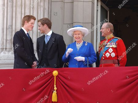 Trooping The Colour. The Young Royals Princes Harry And William With Their Grand Parents The Queen Elizabeth II And Prince Philip  14/6/03