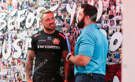 Stock Photo of Exeter Chiefs' Jack Nowell chats with Alex Corbisiero