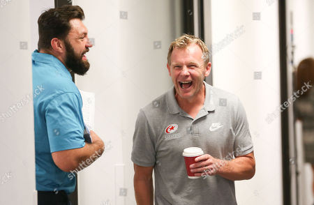 Stock Picture of Saracens' Mark McCall laughs with Alex Corbisiero