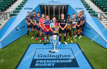Players: Gloucester's Jaco Kriele, Newcastle Falcons' Toby Flood, Bath's Toby Faletau, Northampton Saints' Tom Wood, Leicester Tigers' Ben Youngs, Exeter Chiefs' Jack Nowell, Sale Sharks' Jono Ross, Harlequins' Danny Care (Front with Trophy) , Bristol Bears' George Smith, Saracens' Owen Farrell, Wasps' Christian Wade and Worcester Warriors' Ben Te'o.