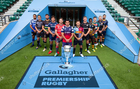 Players: Gloucester's Jaco Kriele, Newcastle Falcons' Toby Flood, Bath's Toby Faletau, Northampton Saints' Tom Wood, Leicester Tigers' Ben Youngs, Exeter Chiefs' Jack Nowell, Sale Sharks' Jono Ross, Harlequins' Danny Care, Bristol Bears' George Smith (Front with Trophy) , Saracens' Owen Farrell, Wasps' Christian Wade and Worcester Warriors' Ben Te'o.