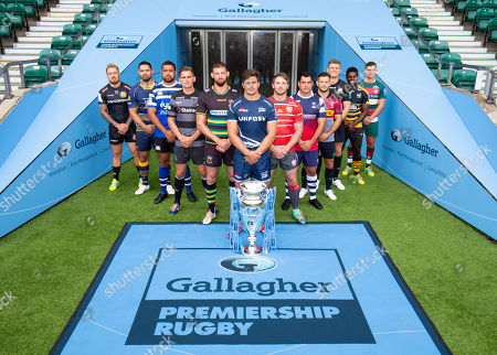 Players: Gloucester's Jaco Kriele, Newcastle Falcons' Toby Flood, Bath's Toby Faletau, Northampton Saints' Tom Wood, Leicester Tigers' Ben Youngs, Exeter Chiefs' Jack Nowell, Sale Sharks' Jono Ross (Front with Trophy) , Harlequins' Danny Care, Bristol Bears' George Smith, Saracens' Owen Farrell, Wasps' Christian Wade and Worcester Warriors' Ben Te'o.