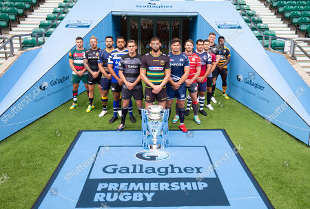 Players: Gloucester's Jaco Kriele, Newcastle Falcons' Toby Flood, Bath's Toby Faletau, Northampton Saints' Tom Wood (Front with Trophy), Leicester Tigers' Ben Youngs, Exeter Chiefs' Jack Nowell, Sale Sharks' Jono Ross, Harlequins' Danny Care, Bristol Bears' George Smith, Saracens' Owen Farrell, Wasps' Christian Wade and Worcester Warriors' Ben Te'o.